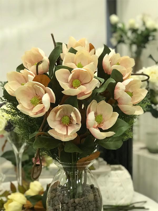 déco Fleurs Fiori artificiali magnolia rosa