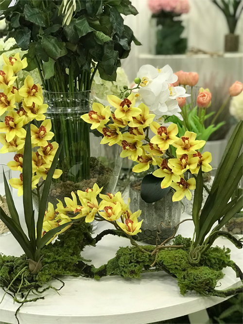 déco Fleurs Fiori artificiali cymbidium muschio