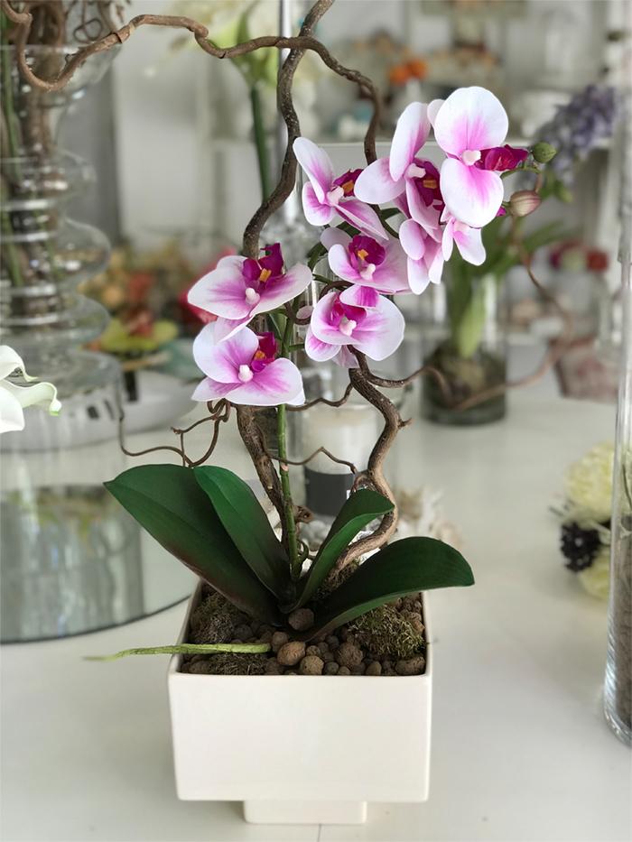 déco Fleurs Fiori artificiali orchidea fucsia