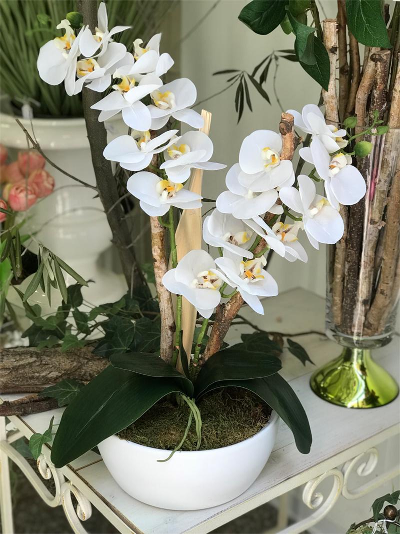 déco Fleurs Fiori artificiali orchidea bianca