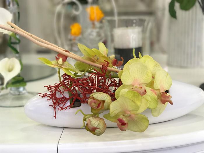 déco Fleurs Fiori artificiali orchidea gialla