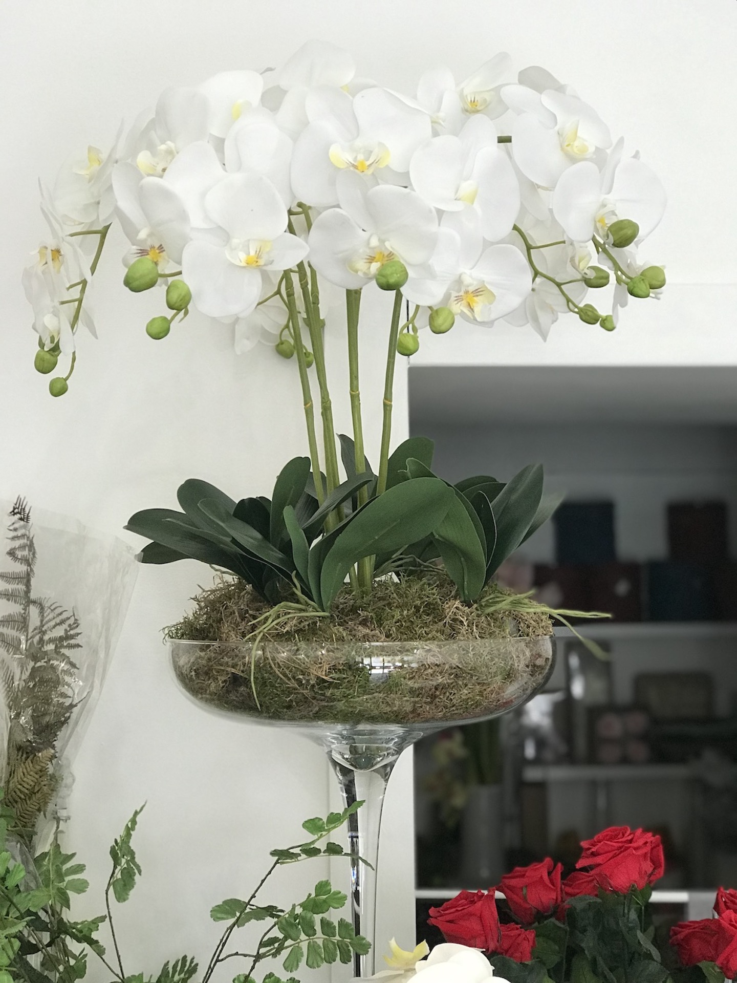 Coppa_vetro_orchidea_Fiori_artificiali_Deco_fleurs
