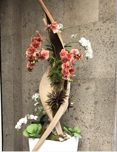 déco Fleurs Fiori artificilai cymbidium e cocos