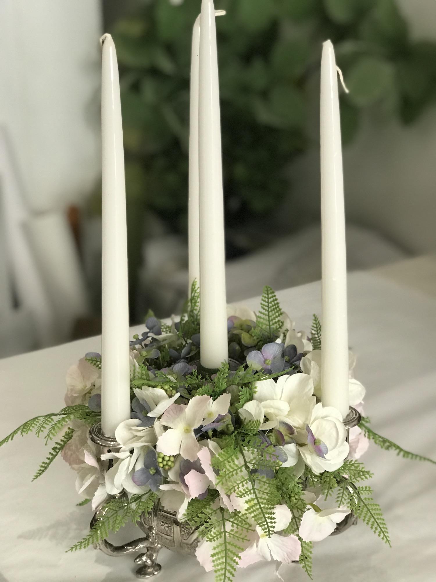 candelabro fiori artificiali fiori finti roma deco fleurs