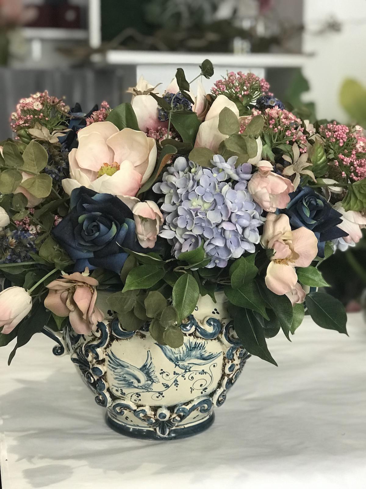 composizione fiori finti artificiali roma prati deco fleurs