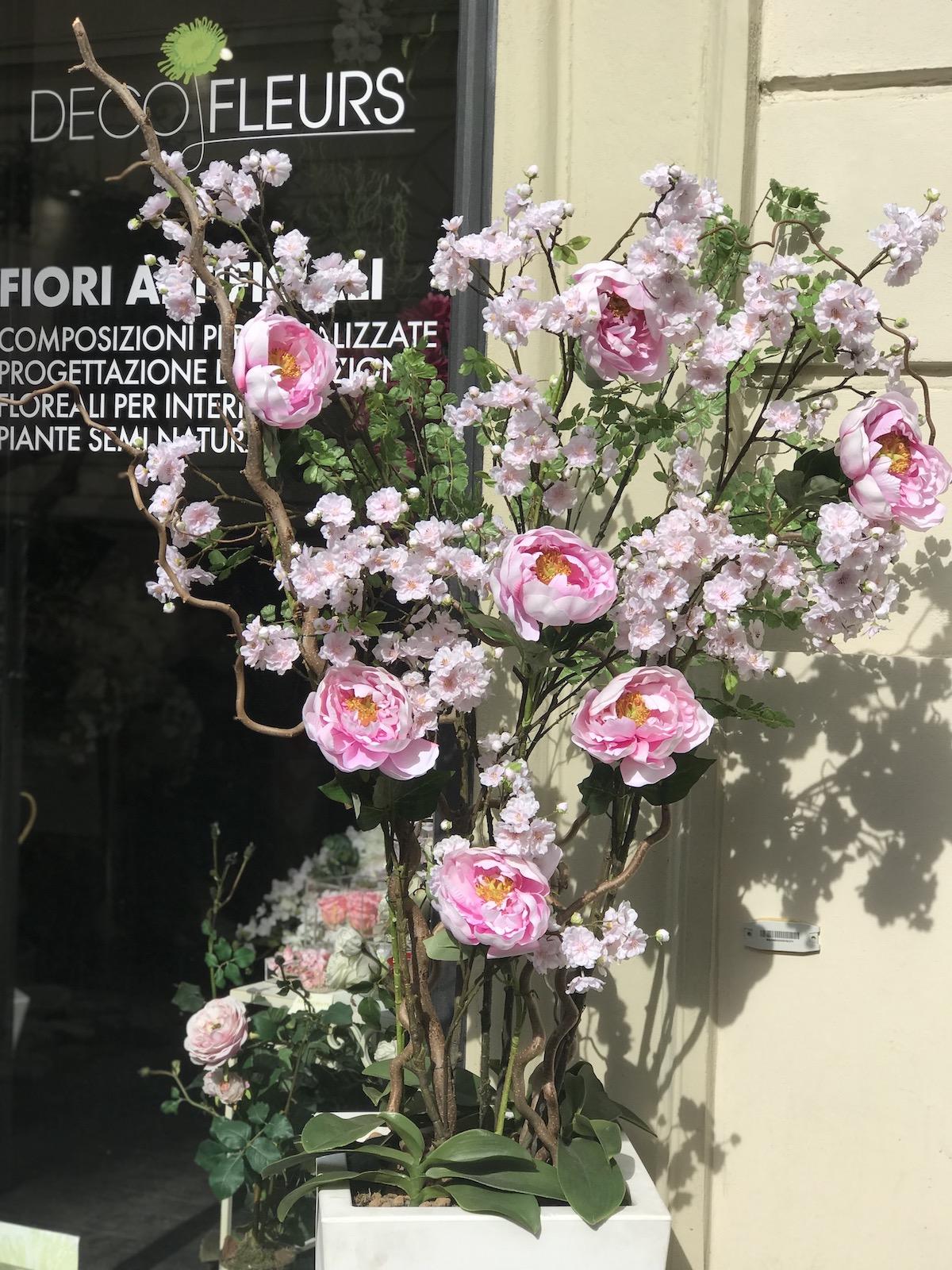 fiori di pesco peonie artificiali fiori finti deco fleurs roma prati
