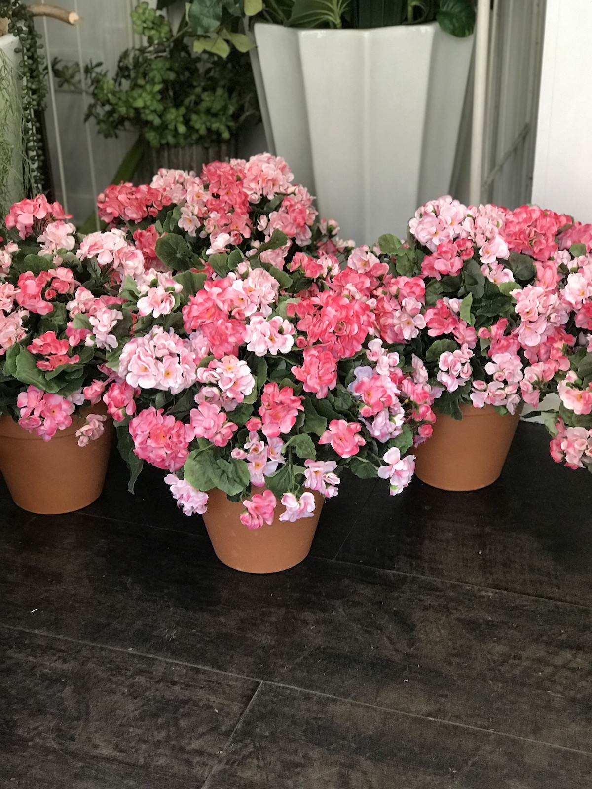 gerani finti cimitero deco fleurs fiori artificiali