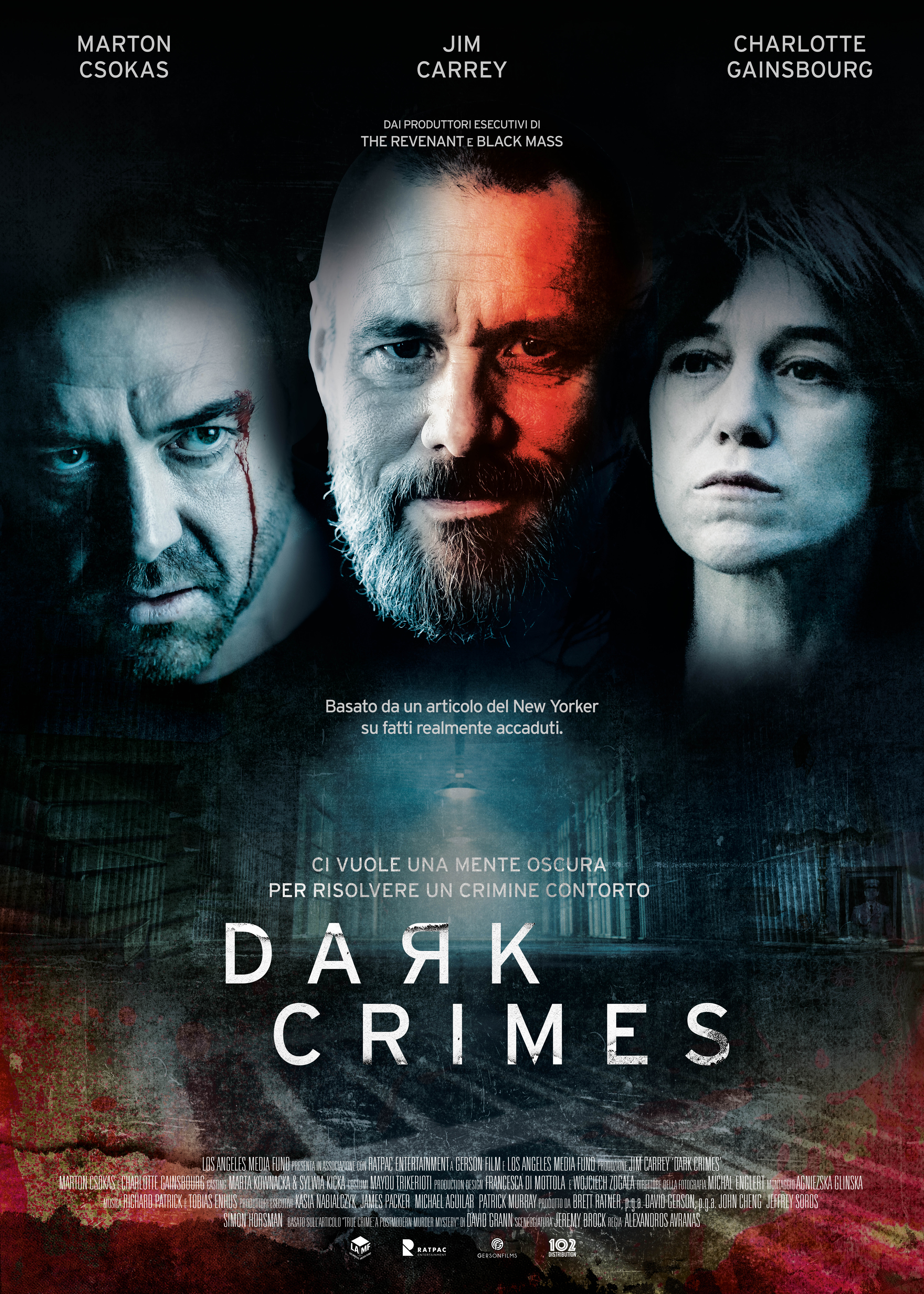 JIM CARREY E CHARLOTTE GAINSBOURG NEL THRILLER 'DARK CRIMES' SU PRIME VIDEO DALL'8 MARZO CON 102 DISTRIBUTION