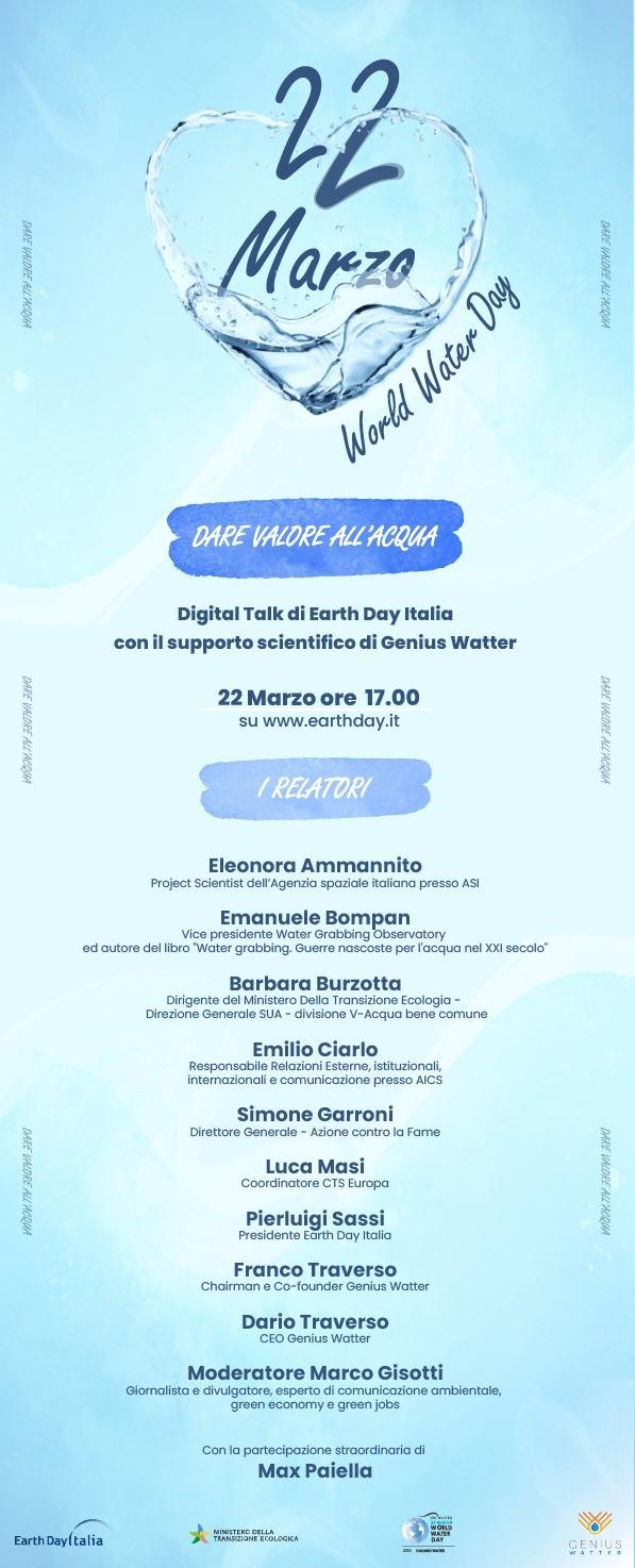 Genius Watter celebra la giornata mondiale dell'acqua il 22 Marzo e ci invita al Digital Talk