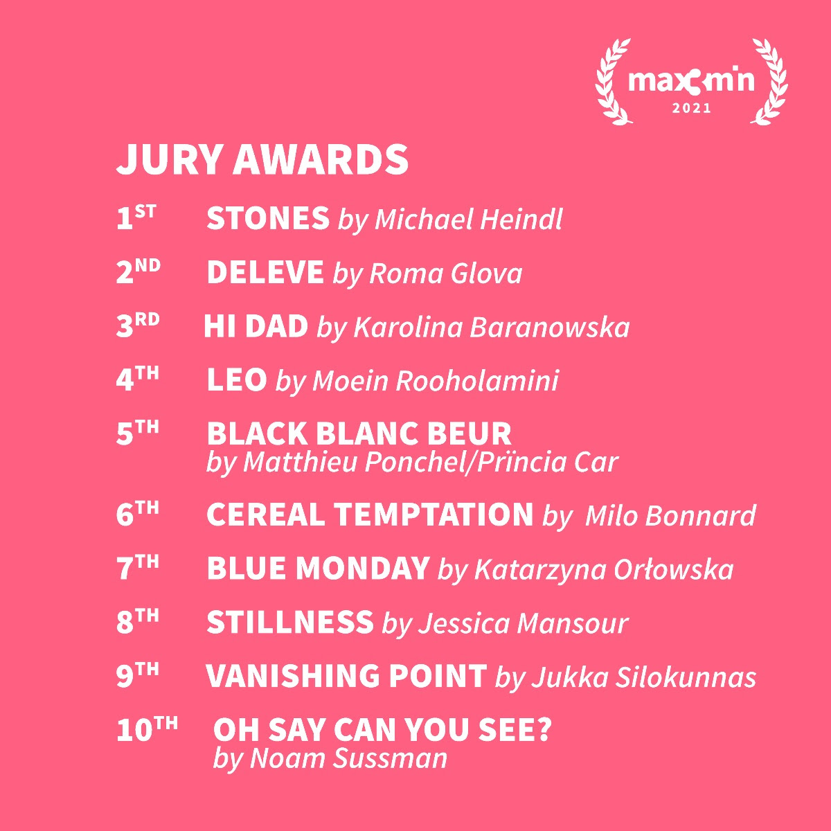 MAX3MIN  Very Short Film Festival  PALMARES Stones di Michael Heindl vince la prima edizione