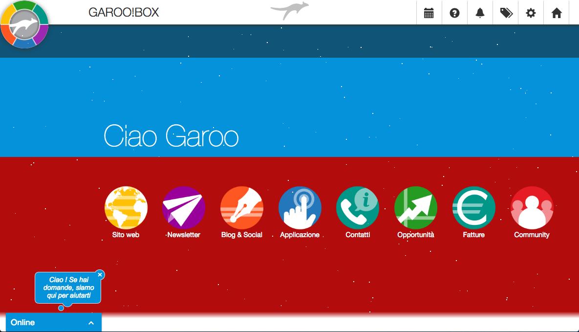 Dashboard natalizia per GAROO!BOX