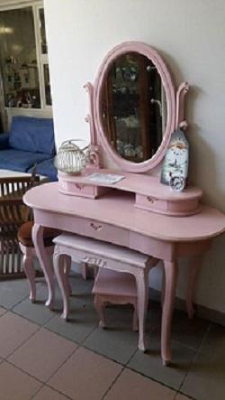 consolle specchiera laccata rosa confetto
