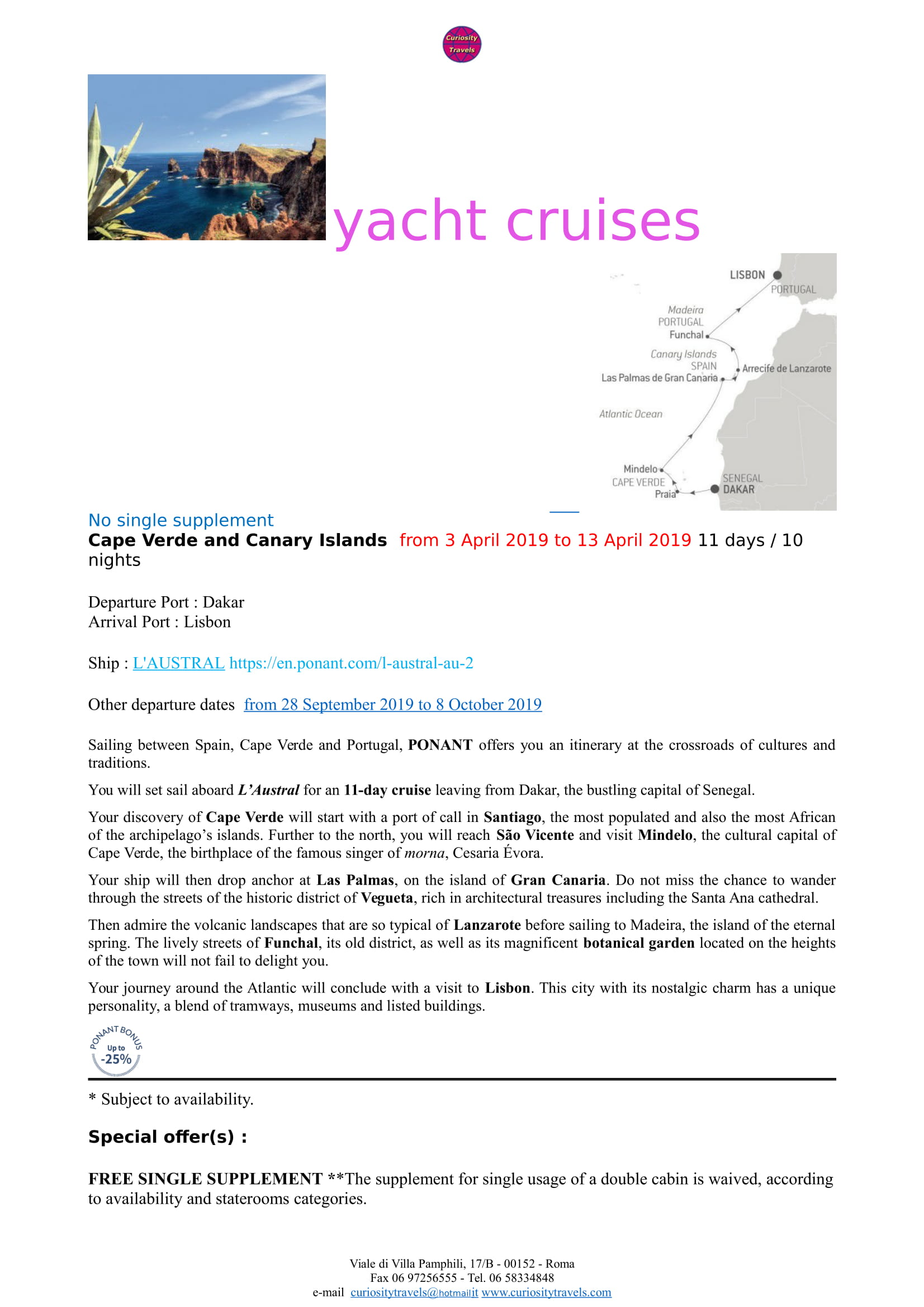 Curiosity Travels - yacht cruises
